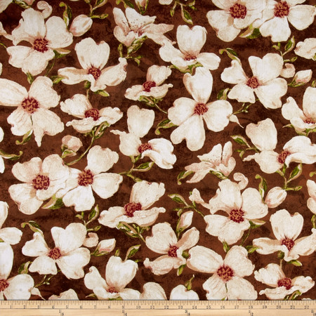 Velvet Blossoms Flannel Magnolia Flower Brown Fabric