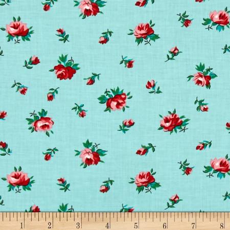 Verna Mosquera Fruta y Flor Cinderella Rosebud Aqua Fabric By The Yard