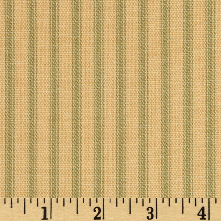 Vertical Ticking Stripe Tan/Green Fabric By The Yard