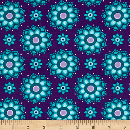Vibrant Meadow Floral Purple Fabric