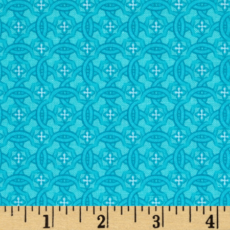Vibrant Meadow Tonal Floral Turquoise Fabric