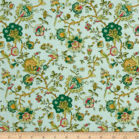 Village Garden Bird Floral Teal Fabric By The Yard