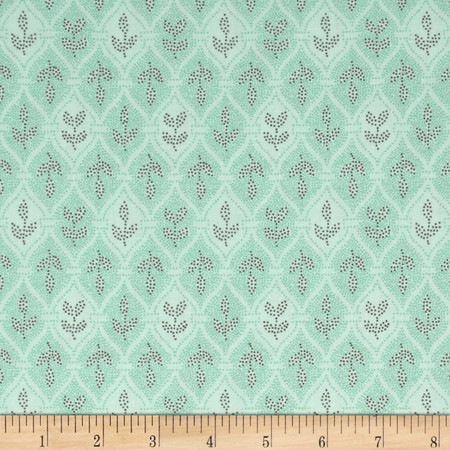 Village Garden Geometric Teal Fabric By The Yard