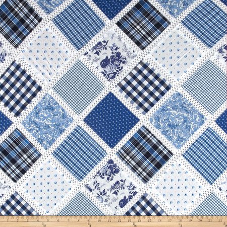Vintage Cuts Patchwork Lawn Blue Fabric