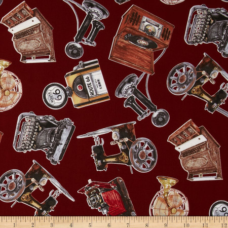 Vintage Gadgets Allover Gadgets Wine Fabric By The Yard