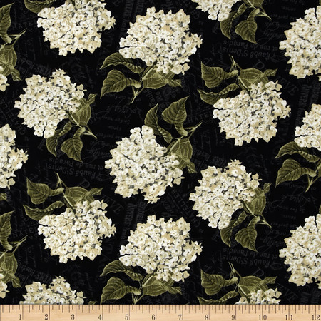 Vintage Garden Packed Floral Black Fabric