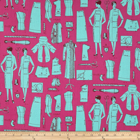 Vintage Modern Dress Pattern Turquoise Fabric