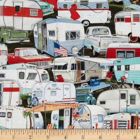 Vintage Trailers Packed Trailer Multi Fabric By The Yard