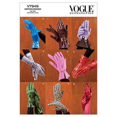 Vogue Misses' Gloves Pattern V7949 Size OSZ