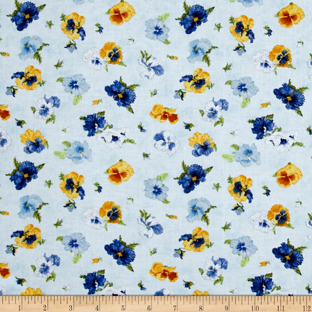 Walking on Sunshine Tossed Pansies Light Blue Fabric By The Yard