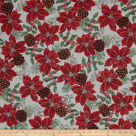 Warm Wishes Metallic Poinsettia Holly Pinecones Frost/Silver Fabric By The Yard