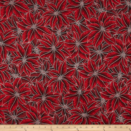 Warm Wishes Metallic Poinsettia Leaves Red/Silver Fabric By The Yard