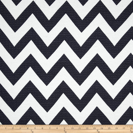 Waverly Chevron Chic Jacquard Navy Fabric By The Yard