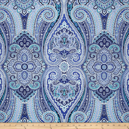 Waverly Paisley Pizzazz Sateen Delft Fabric By The Yard