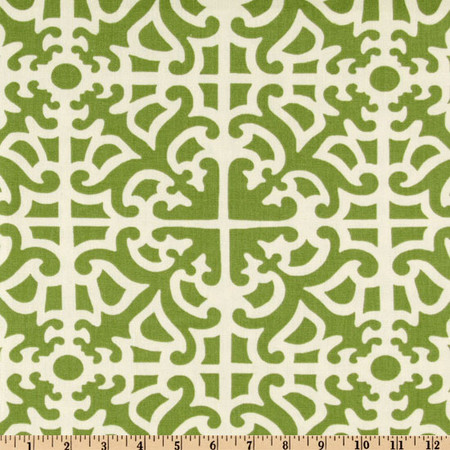Waverly Parterre Damask Grass Fabric By The Yard