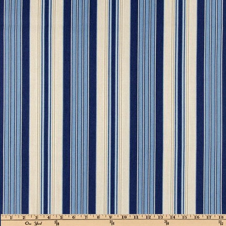 Waverly Siene Stripe Indigo Fabric By The Yard