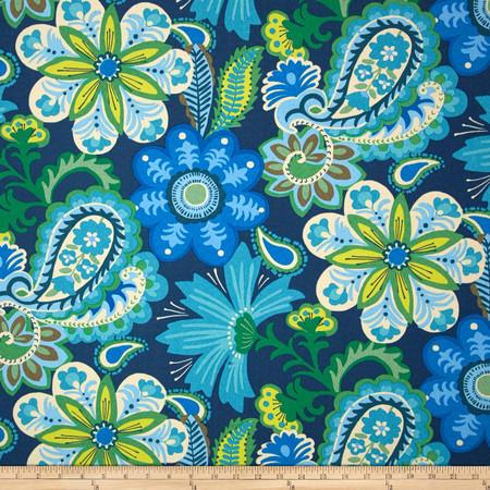 Waverly Sun N Shade Flower Child Sapphire Fabric By The Yard