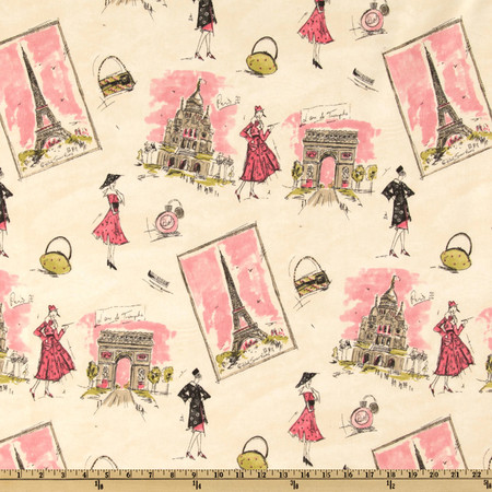 Waverly Tres Chic Black/Pink Fabric By The Yard