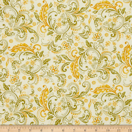 Welcome Harvest Paisley Cream Fabric By The Yard