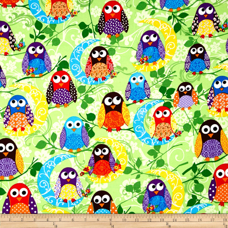What a Hoot Flannel Large Owls Green Fabric By The Yard