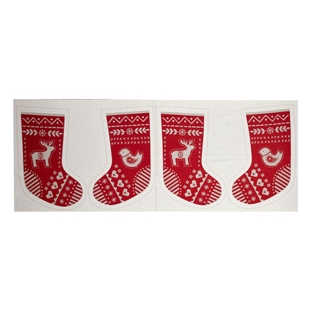 When I Met Santa's Reindeer Stocking 18 In. Panel Tan Fabric By The Yard
