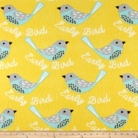 Whimsical Bird Fleece Yellow Fabric
