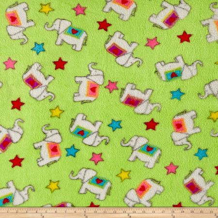 Whisper Plush Fleece Elephants Lime Fabric By The Yard