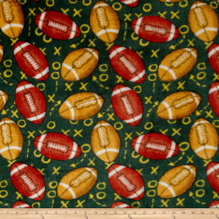 Whisper Plush Fleece Football Playcalls Green Fabric By The Yard