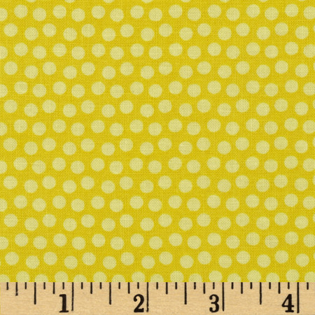 Whoo Loves You Dots Yellow Fabric