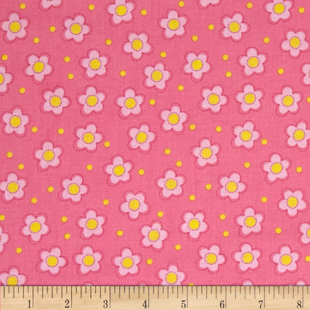 Whoo Loves You Floral Pink Fabric