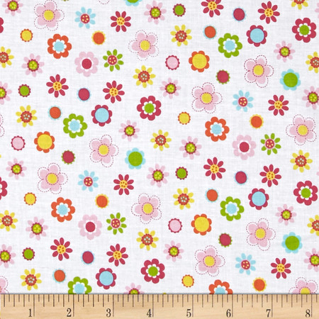 Whoo Loves You Floral White Fabric