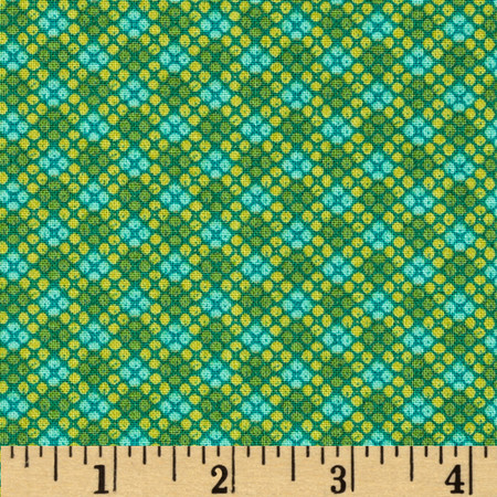 Who's Who Grid Green/Blue Fabric
