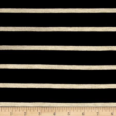 Wide Lanes 1'' Stripe Rayon Jersey Knit Black/Oatmeal Fabric By The Yard