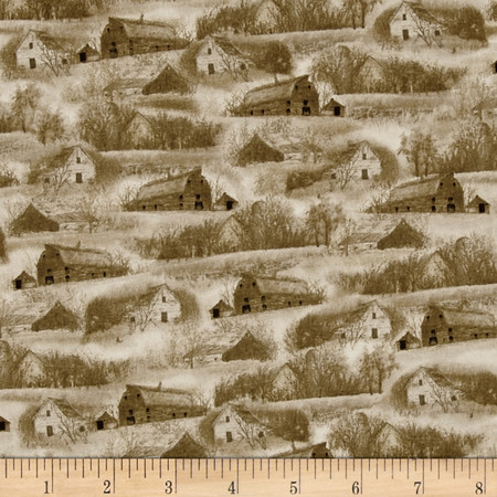 Wild Pheasants Barns & Houses Khaki Fabric By The Yard