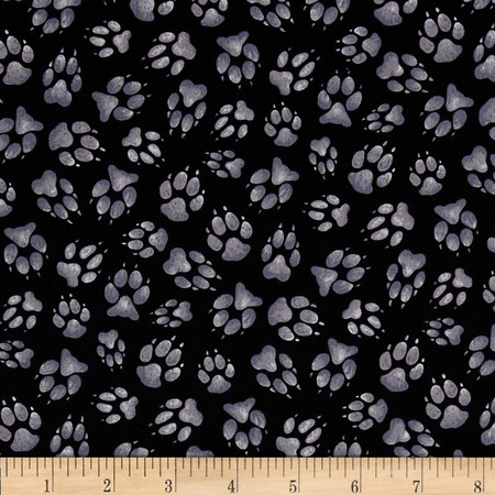 Wild Run Paw Prints Black Fabric By The Yard