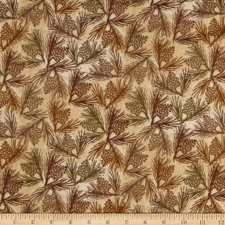 Wilderness Flannel Pine Cones Butter Fabric By The Yard