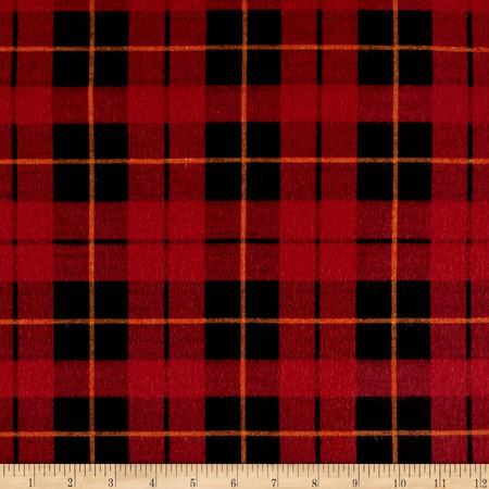 Wilderness Flannel Plaid Brick Fabric By The Yard