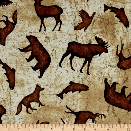 Wilderness Flannel Toss Animals Butter  Fabric By The Yard