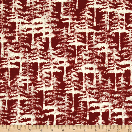 Wilderness Flannel Trees Brick Fabric By The Yard