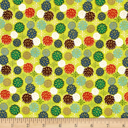 Windham Mouse Camp Flowers Yellow Fabric By The Yard