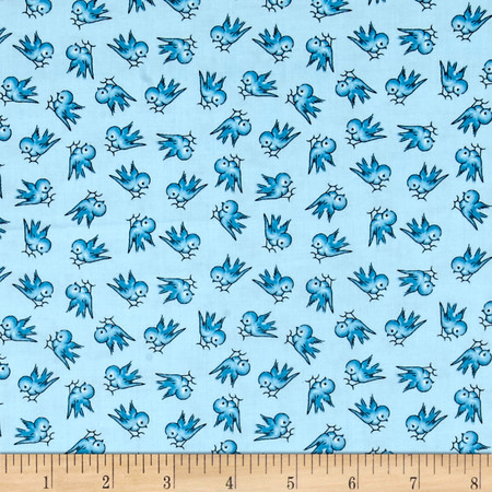 Windham Playdate Birds of a Feather  Blue Fabric By The Yard
