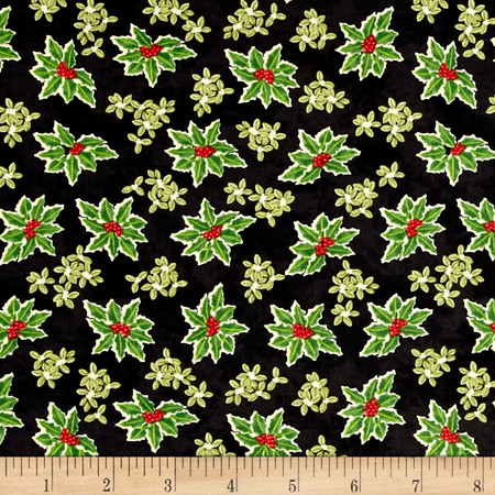 Winter Bliss Holly Allover Black Fabric By The Yard