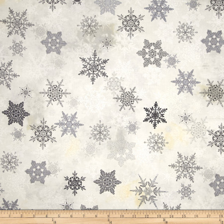 Winter Celebration Large Snowflake Grey Fabric