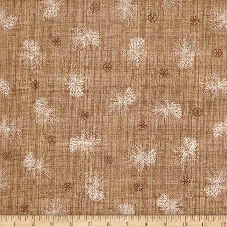 Winter Celebration Pine Cone Texture Medium Brown Fabric