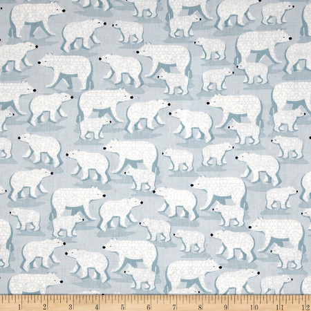 Winter Frost Polar Bears Light Blue Fabric