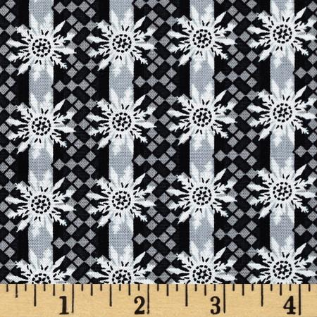 Winter Memories Mini Stripe Black Fabric