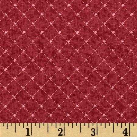 Winter Village Bias Grid Red Fabric