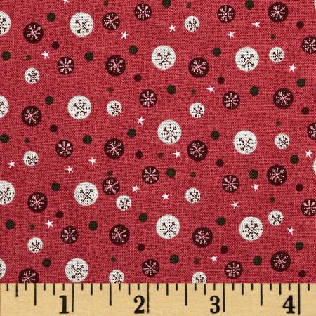 Winter Village Snowflake Dots Raspberry Fabric
