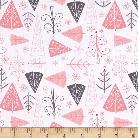 Winter Wonderland Trees White Fabric