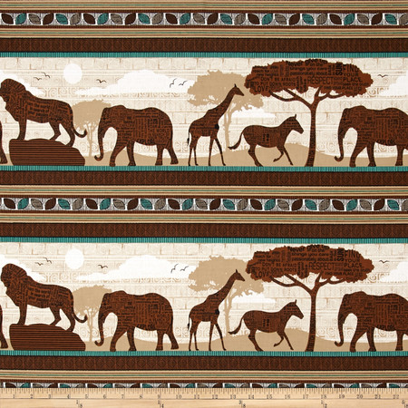 Wisdom of The Plains Safari Scenic Stripe Brown Fabric By The Yard